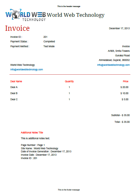 PDF Invoices Extension For The Social Deals Engine - Seo invoice template