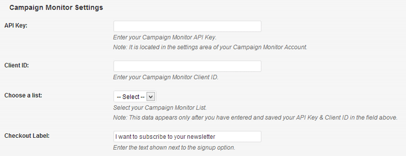 Campaign Monitor Settings