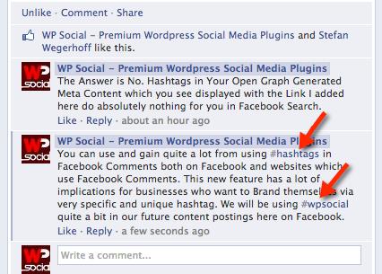 Facebook Comment Hashtags