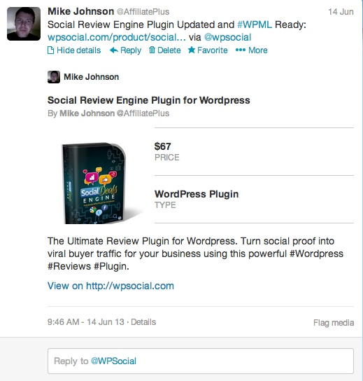 WP Social Product Twitter Card