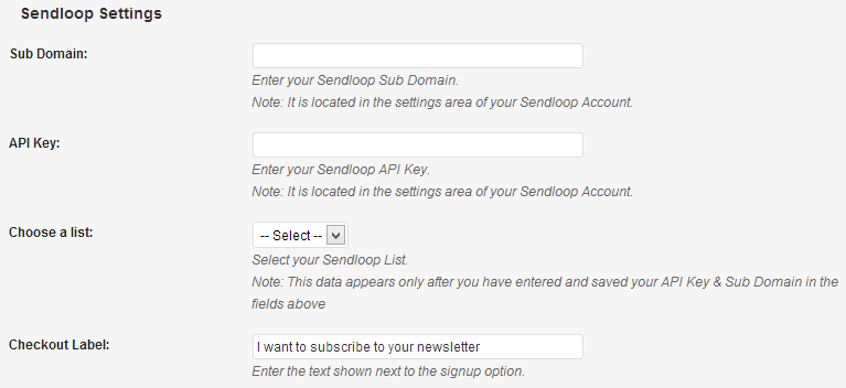 Sendloop Settings